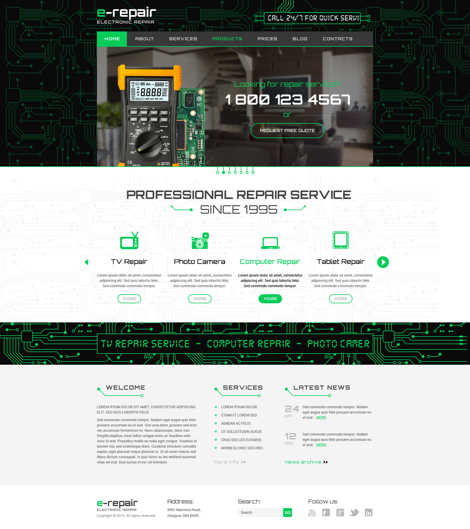 computer repair website template