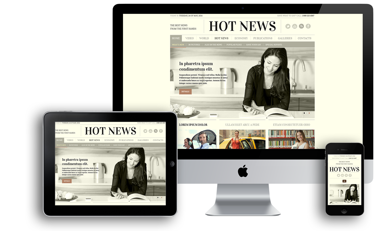 Newspaper mobile responsive bootstrap template