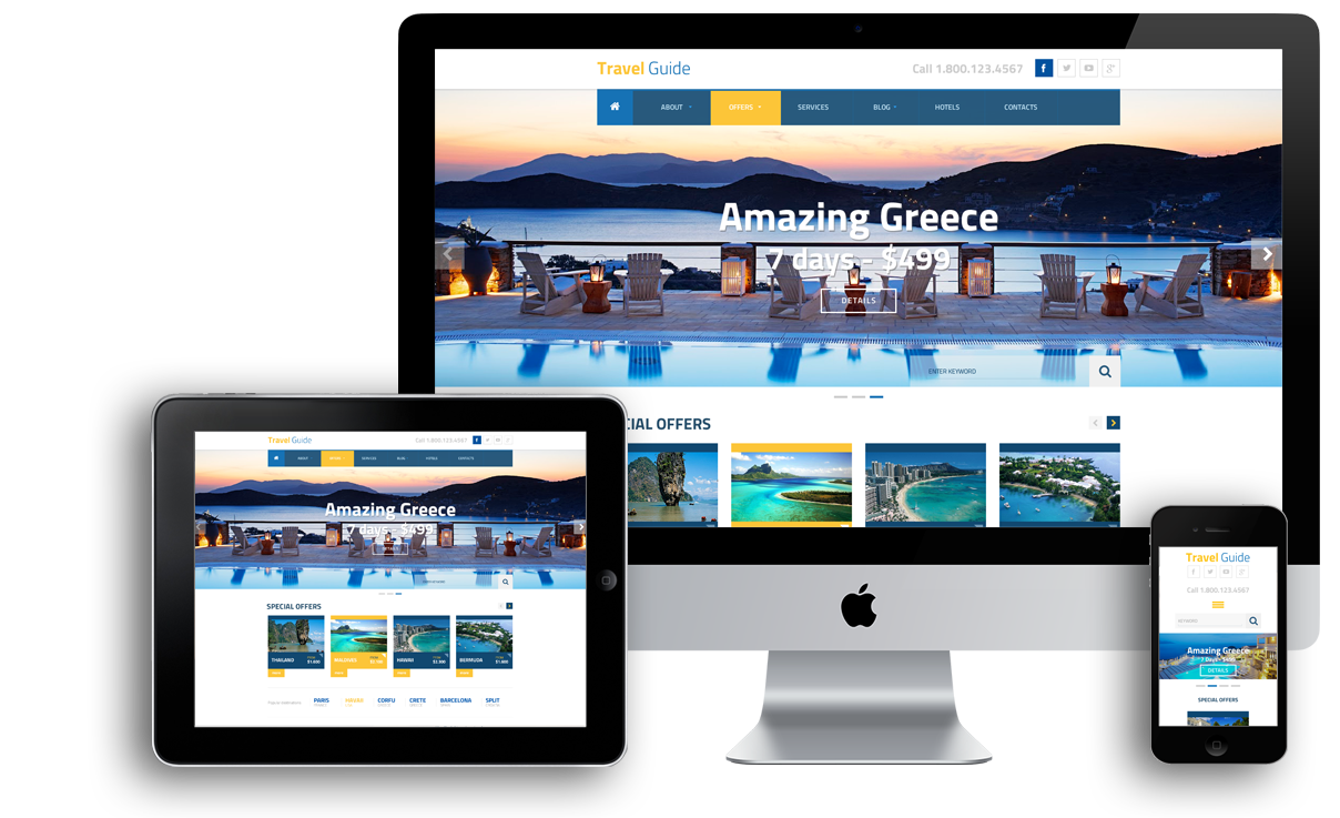 Travel guide mobile responsive wordpress template