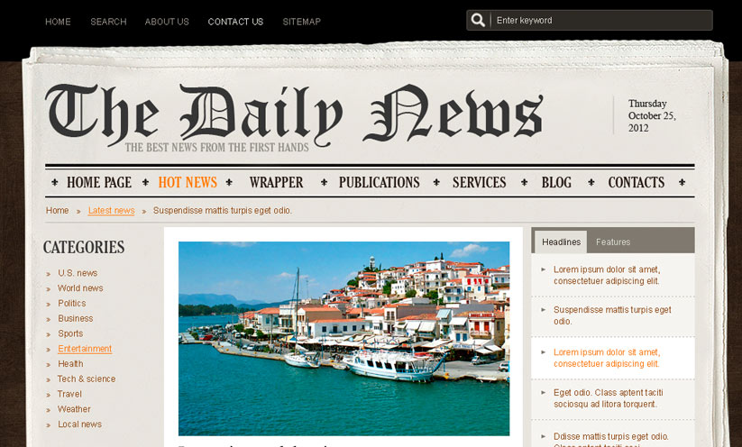 NewsPaper v2.5 Joomla template ID:300111320