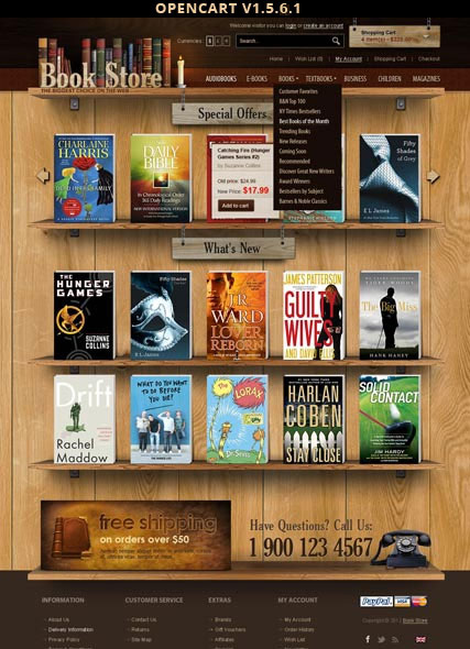 opencart bookstore template - book store opencart template id 300111402 from