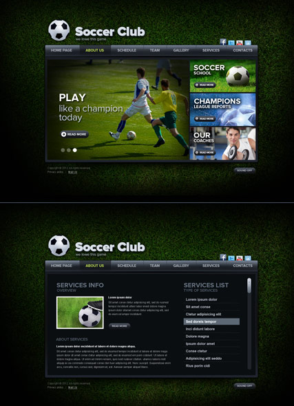 Soccer club html5 template id 300111503 from bootstrap for Html5 video player template