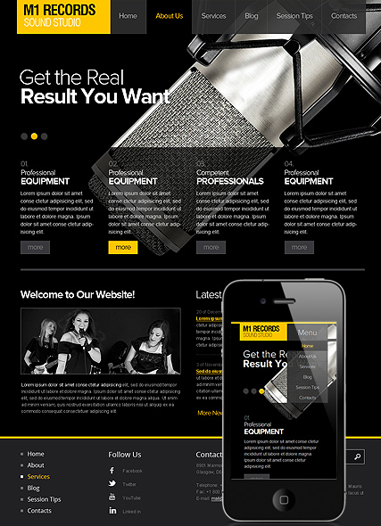 Sound Studio - Wordpress template ID: 300111520 from bootstrap ...