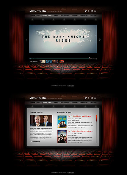 Movie Theatre - HTML5 template ID: 300111536 from bootstrap-template.com