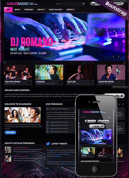 ColoRadio Bootstrap template ID:300111589