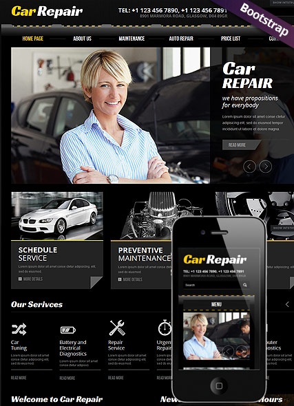 car repair bootstrap template id 300111602 from bootstrap. Black Bedroom Furniture Sets. Home Design Ideas