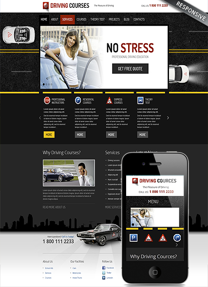 driving school wordpress template id 300111616 from bootstrap