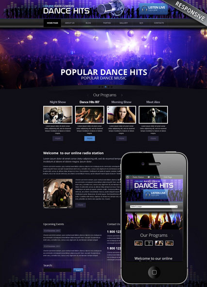 online radio wordpress template id 300111624 from bootstrap