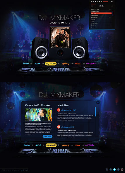 DJ Mix HTML5 template ID 300111629 from bootstraptemplatecom