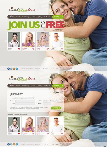 Dating Agency HTML5 template ID:300111671
