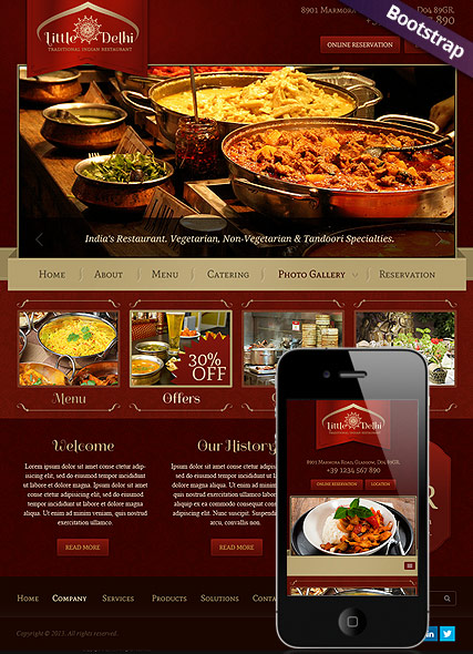 Indian Restaurant - Bootstrap template ID: 300111689 from bootstrap ...