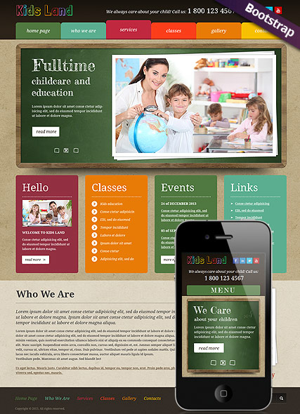 Kids Land Bootstrap template ID:300111690