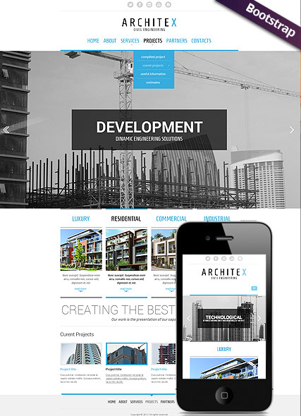 Build and construct Bootstrap template ID:300111691