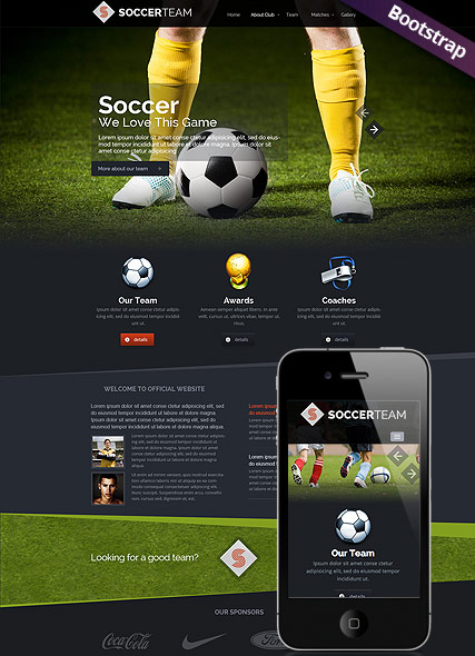 soccer club bootstrap template id 300111703 from bootstrap