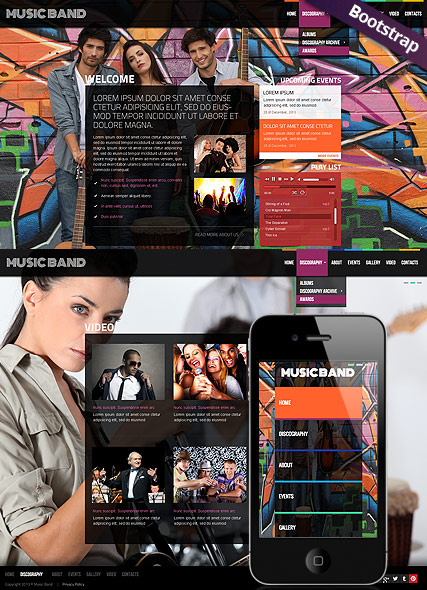 Music Band Bootstrap template ID:300111704