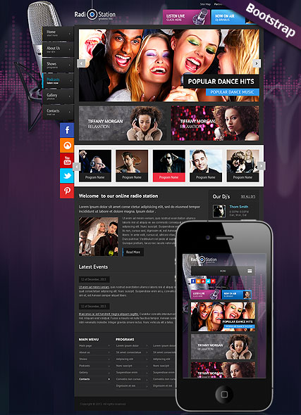 Radio Station Bootstrap template ID:300111742
