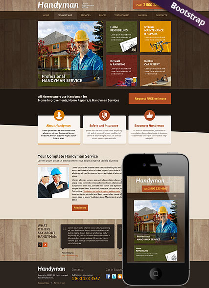Handyman Service Bootstrap Template Id 300111746 From