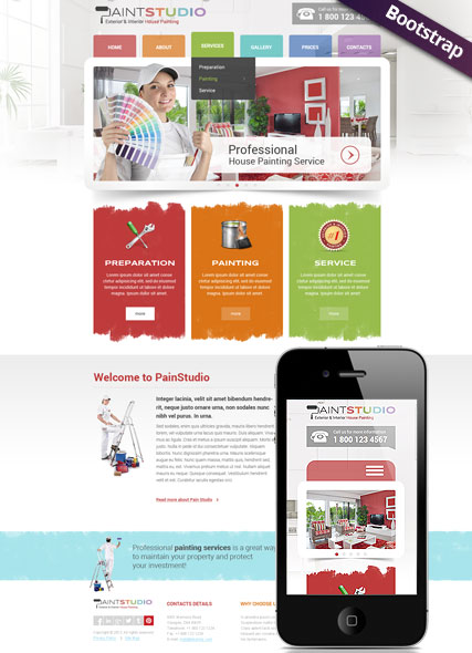 House Painting Bootstrap template ID:300111758