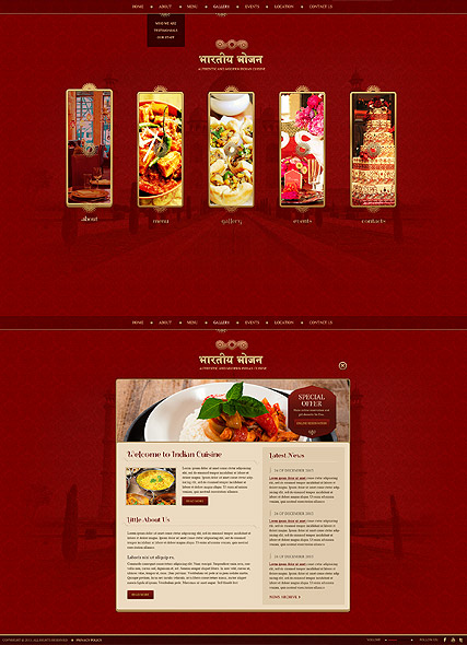 Indian Restaurant HTML5 template ID:300111759