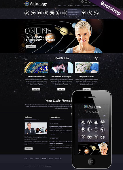 Astrology Bootstrap template ID:300111766