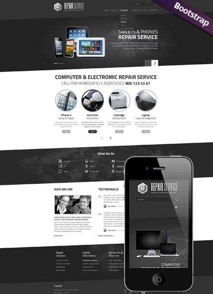 Pc Repair Service Bootstrap Template Id 300111772 From