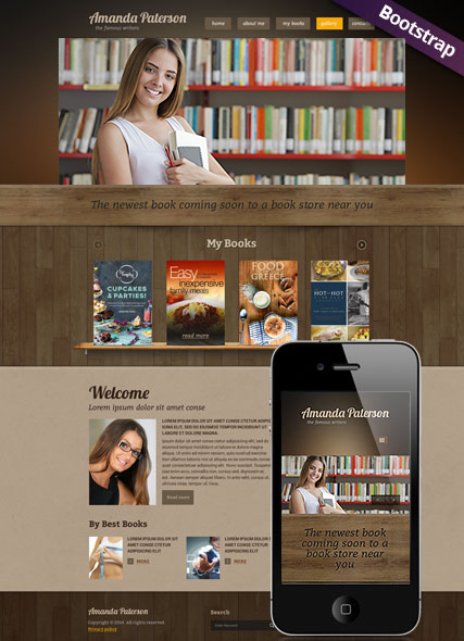 Book Writer Bootstrap template ID:300111777