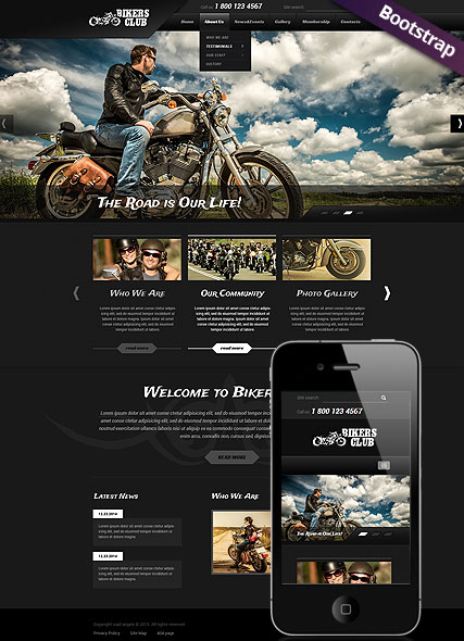 Bikers Club Bootstrap template ID:300111783