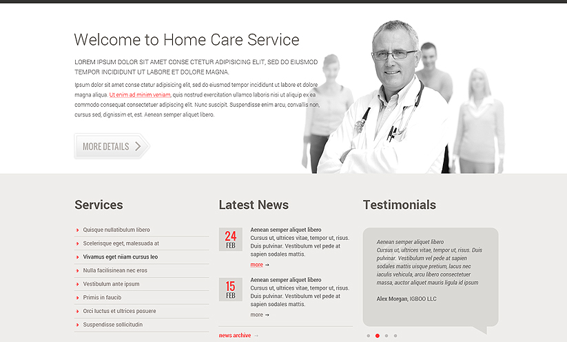 Home care service Bootstrap template ID:300111784 Slide 1
