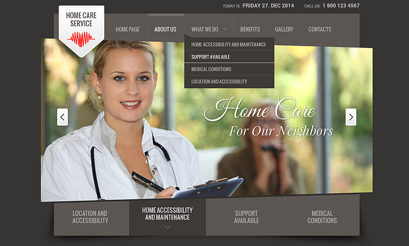 Home care service Bootstrap template ID:300111784