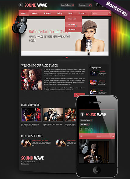 Sound wave radio Bootstrap template ID:300111788