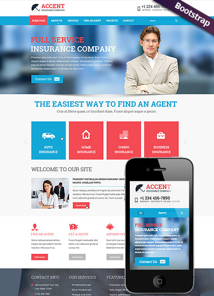 insurance bootstrap free template  Insurance company - Bootstrap template ID: 300111791 from bootstrap ...