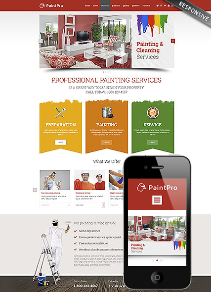 Painting co - Wordpress template ID: 300111792 from bootstrap ...