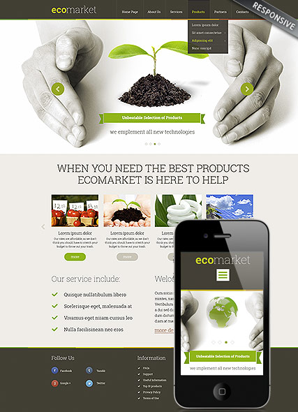 Ecology Products Wordpress template ID:300111794