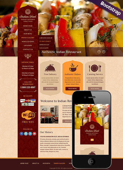 Indian Food Bootstrap Template Id 300111796 From