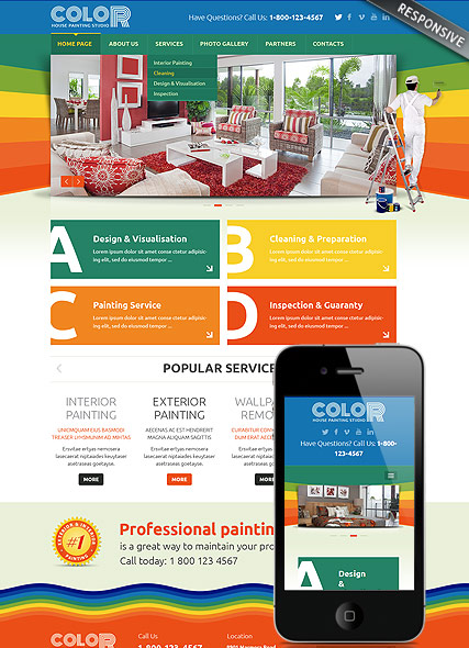 House painting Bootstrap template ID:300111810