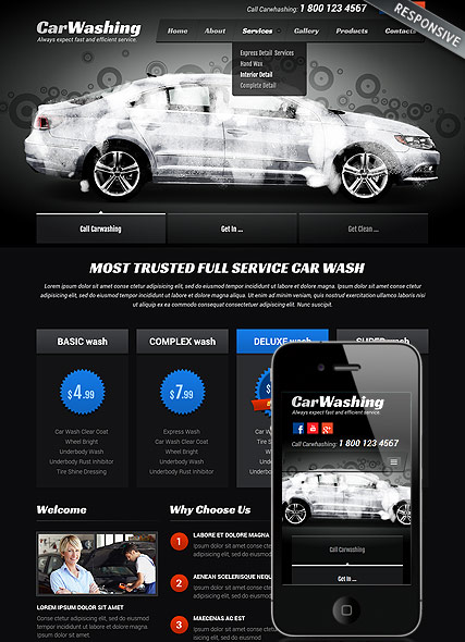 car washing bootstrap template id 300111812 from bootstrap