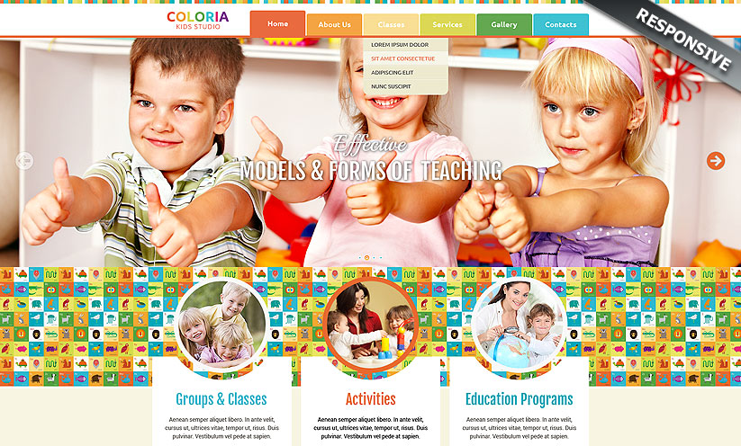 Kids studio Bootstrap template ID:300111816