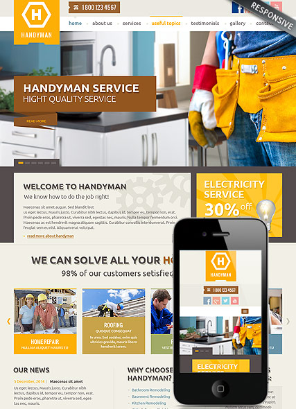 Handyman Service - Bootstrap template ID: 300111818 from bootstrap ...