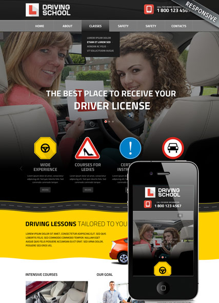 driving school bootstrap template id 300111822 from bootstrap
