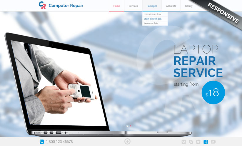 Computer repair Bootstrap template ID:300111826
