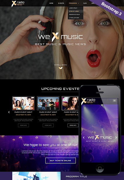 Radio Station Bootstrap Template Id 300111827 From