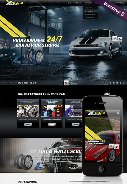 auto service bootstrap template id 300111830 from bootstrap