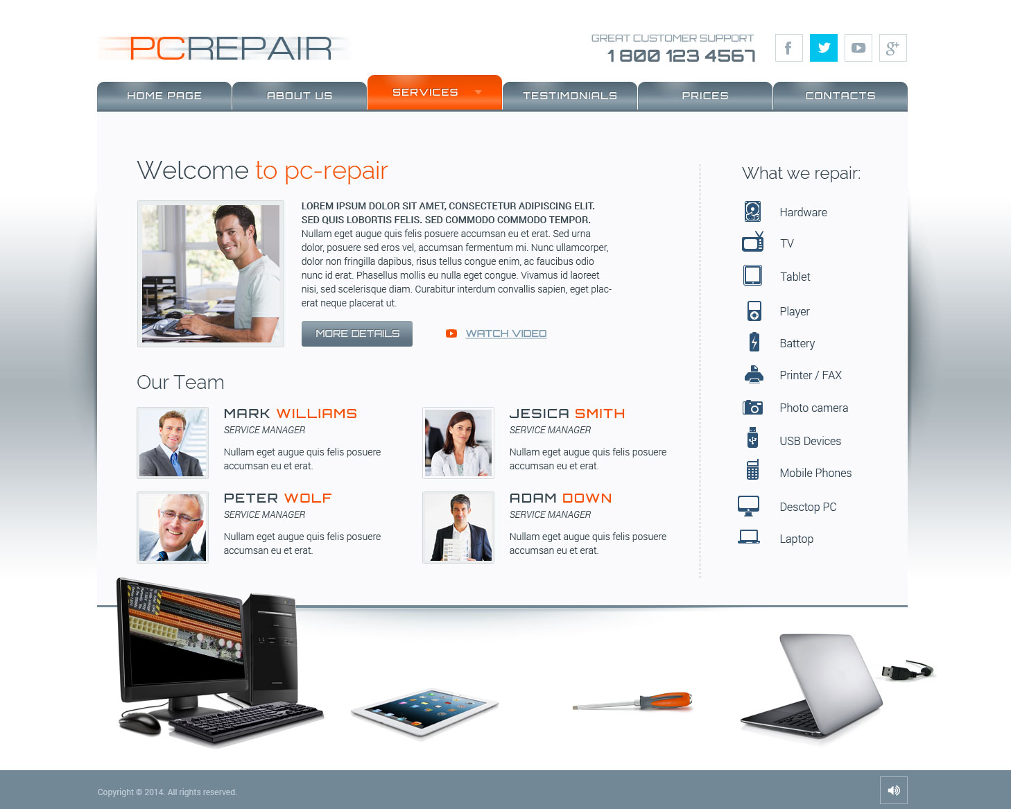 pc repair html5 template computer repair html5 template
