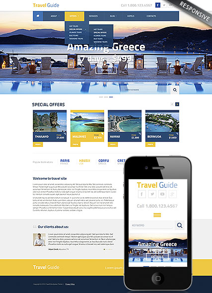 Travel Guide Wordpress template ID:300111835