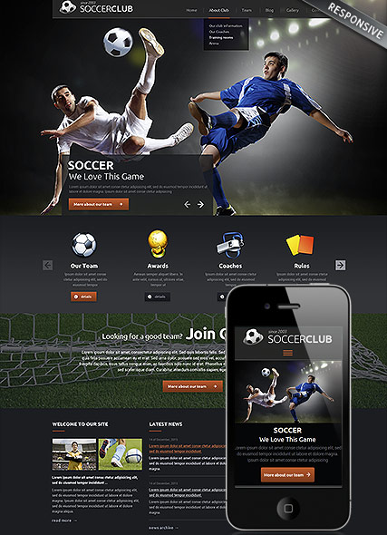 Soccer club - Wordpress template ID: 300111840 from bootstrap ...