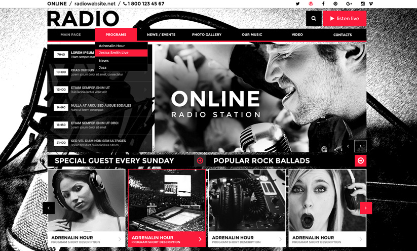 Online radio station wordpress template id: 300111847 from.