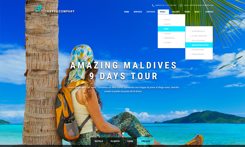 Travel Bootstrap template ID:300111895