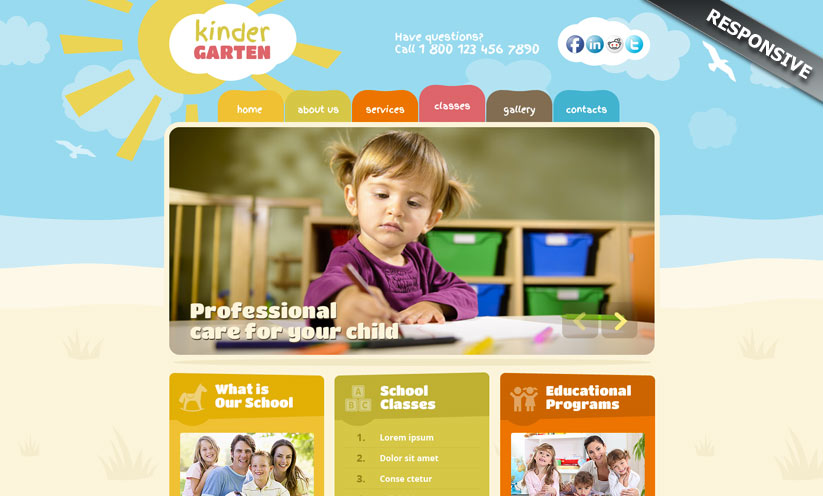 Kindergarten Wordpress template ID:300111897