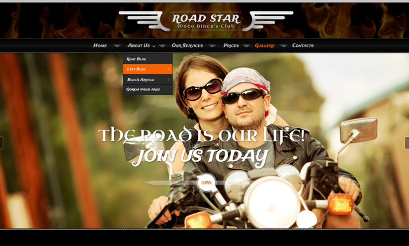 Bikers club Bootstrap template ID:300111906