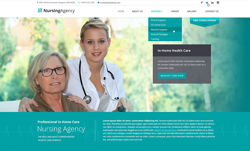 Nursing care Bootstrap template ID:300111908